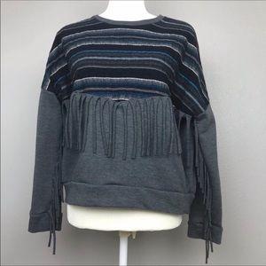 Zara Gray Fringe Sweatshirt